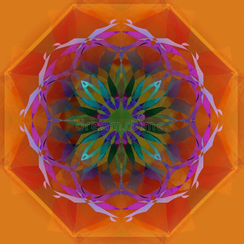 CICLE坛场 E 抽象桔子和红色背景 在绿松石的中央设计,紫色,紫罗兰,桃红色,蓝色 向量例证