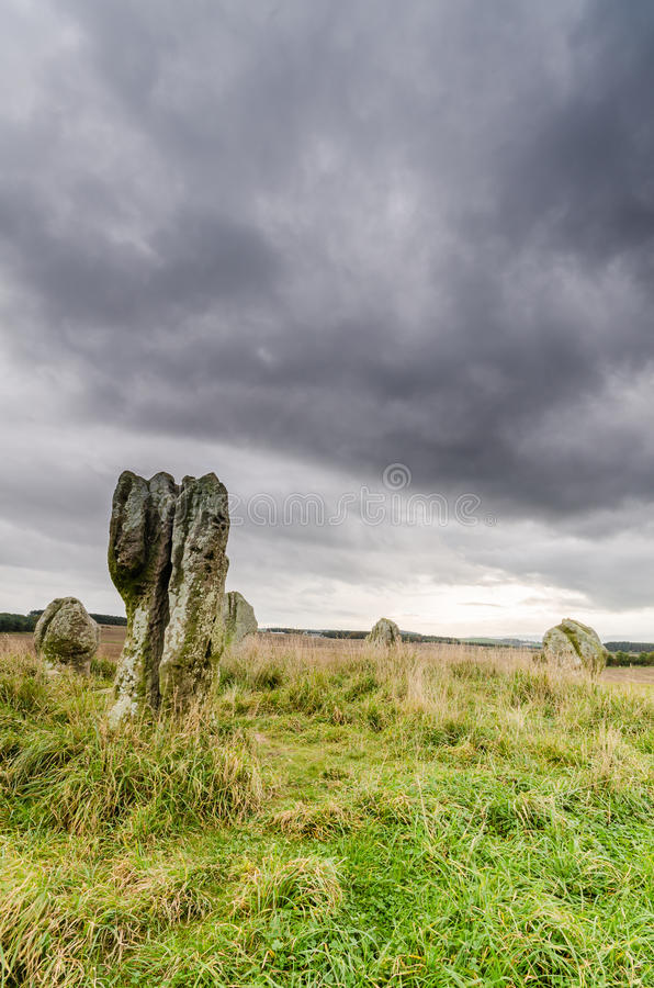 Cicle de pedra pré-histórico de Duddo imagens de stock royalty free