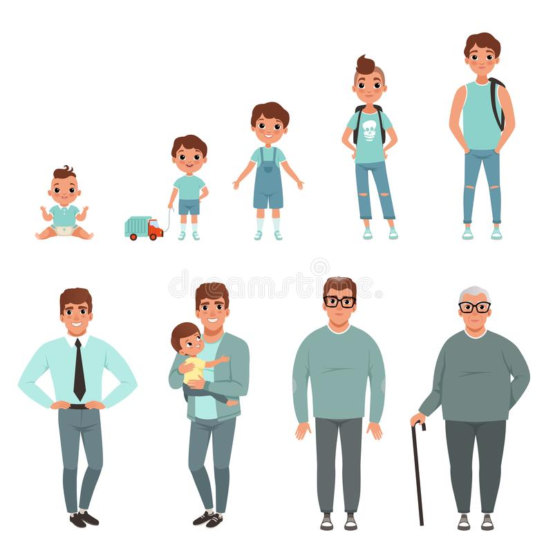 Cicli di vita dell'uomo, fasi di crescere dal bambino all'illustrazione di vettore dell'uomo illustrazione vettoriale