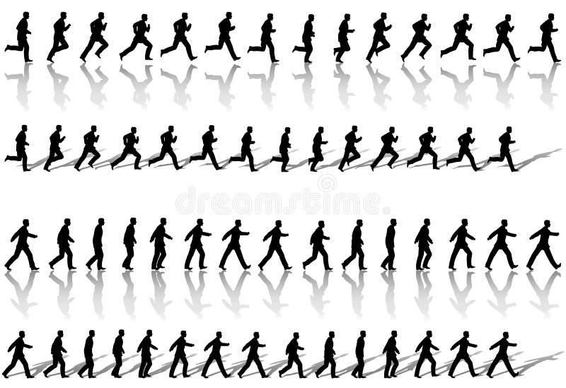 Cicli esecuzione di sequenza del blocco per grafici dell'uomo di affari & camminata di potenza illustrazione vettoriale