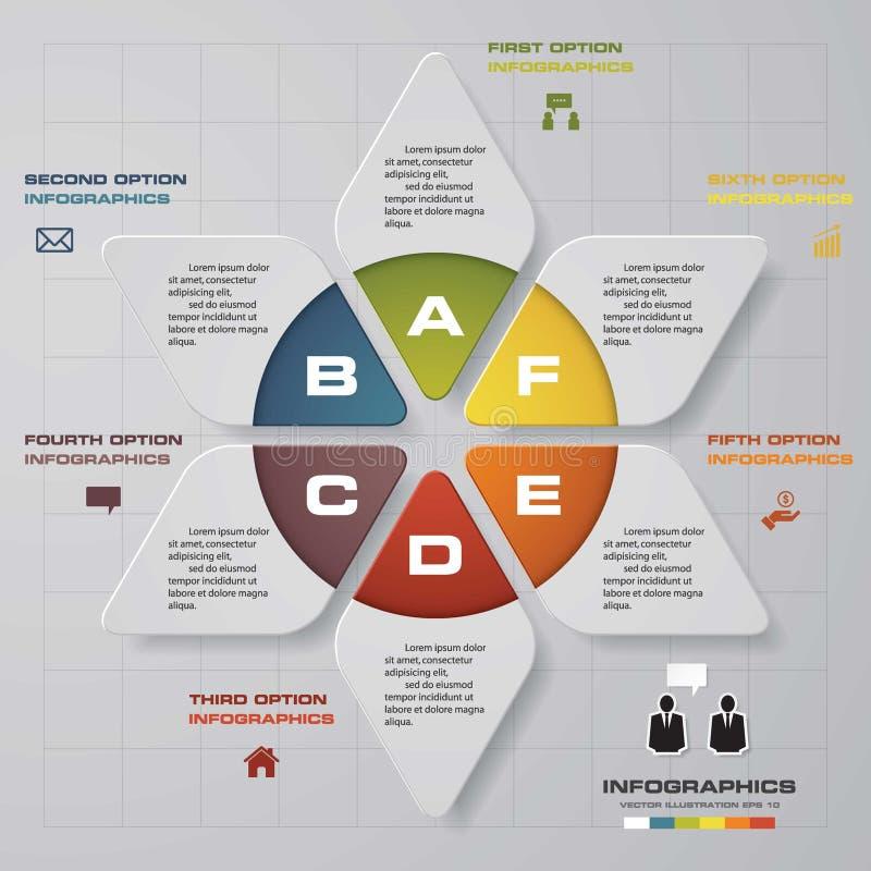 Cicli il modello di progettazione ed il concetto di affari con 6 opzioni, parti, punti o processi Vettore royalty illustrazione gratis