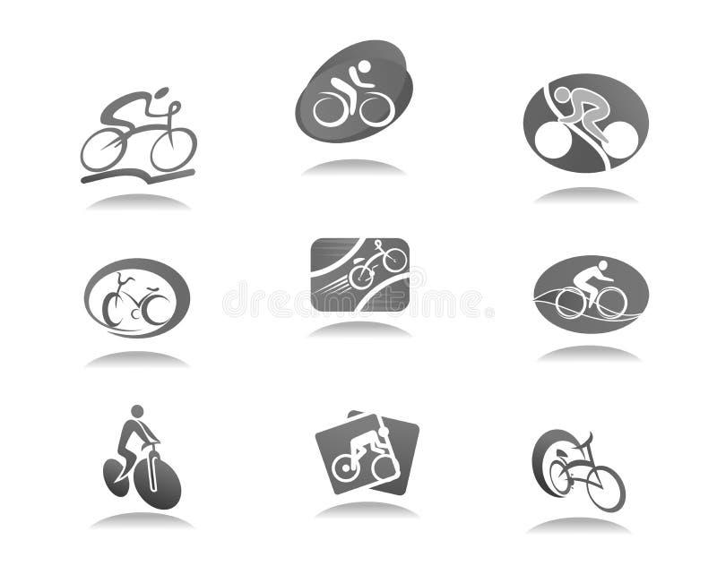 Cicli lo sport e vada in bicicletta l'icona per progettazione della corsa della bici royalty illustrazione gratis