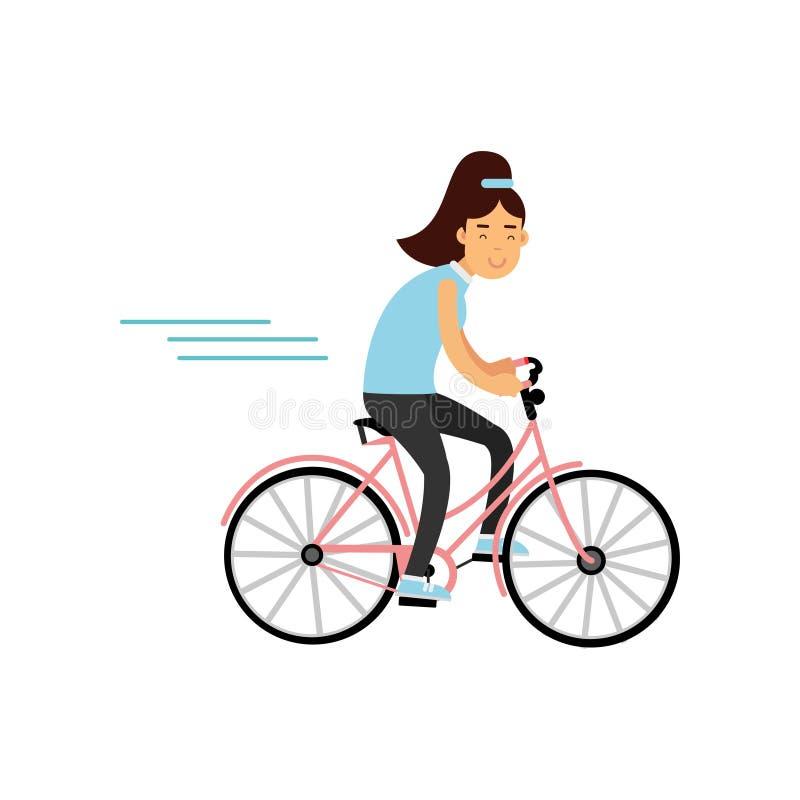 Ciclismo adolescente da menina na bicicleta, menina que faz o esporte, ilustração ativa do vetor do estilo de vida ilustração royalty free