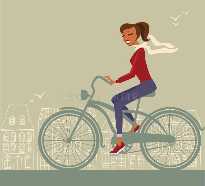 Ciclismo da menina ilustração royalty free