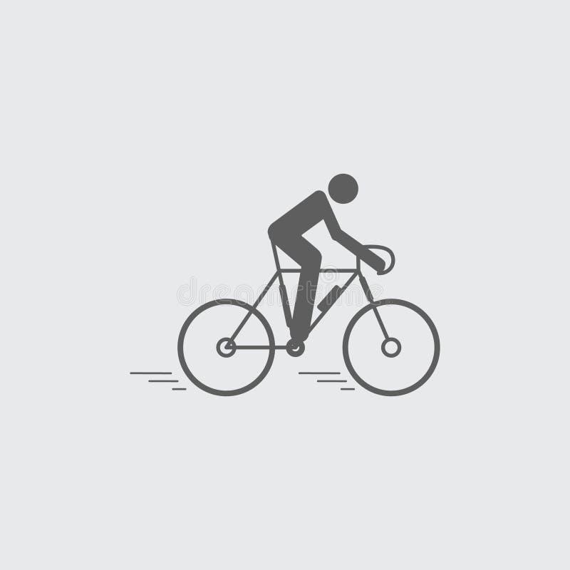 Ciclismo liso preto, ?cone de montada ilustração do vetor