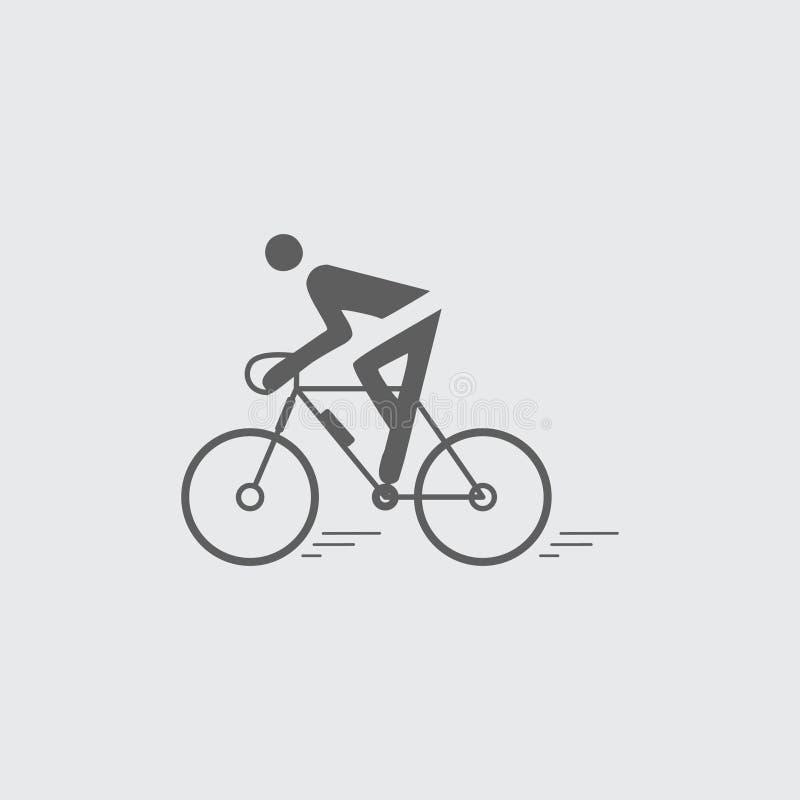 Ciclismo liso preto, ?cone de montada ilustração royalty free