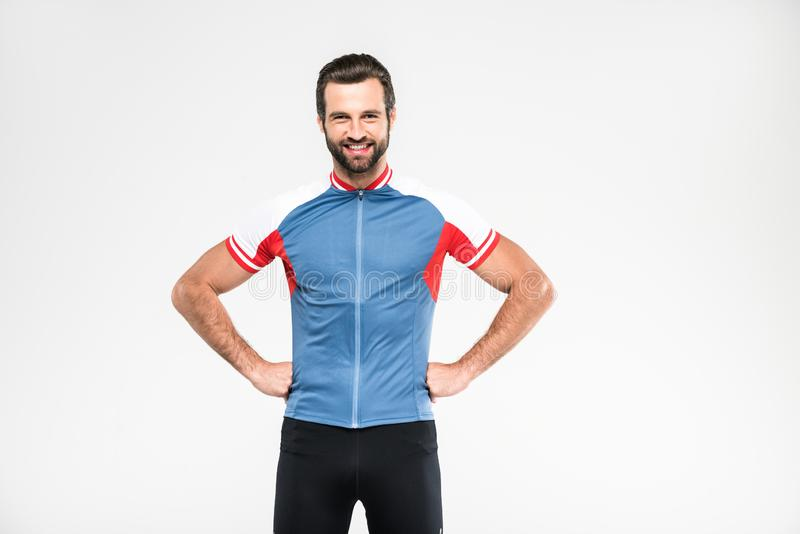ciclista alegre no sportswear isolado fotografia de stock