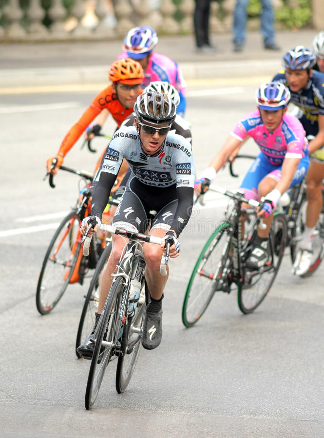 Ciclista Andree Steensen Do Banco De Saxo Foto de Stock Editorial