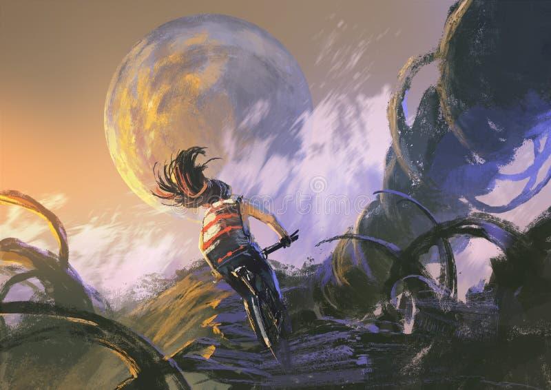 Ciclista che guida un mountain bike che scala sul picco roccioso illustrazione di stock