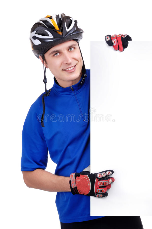 Ciclista che tiene un segno in bianco immagine stock