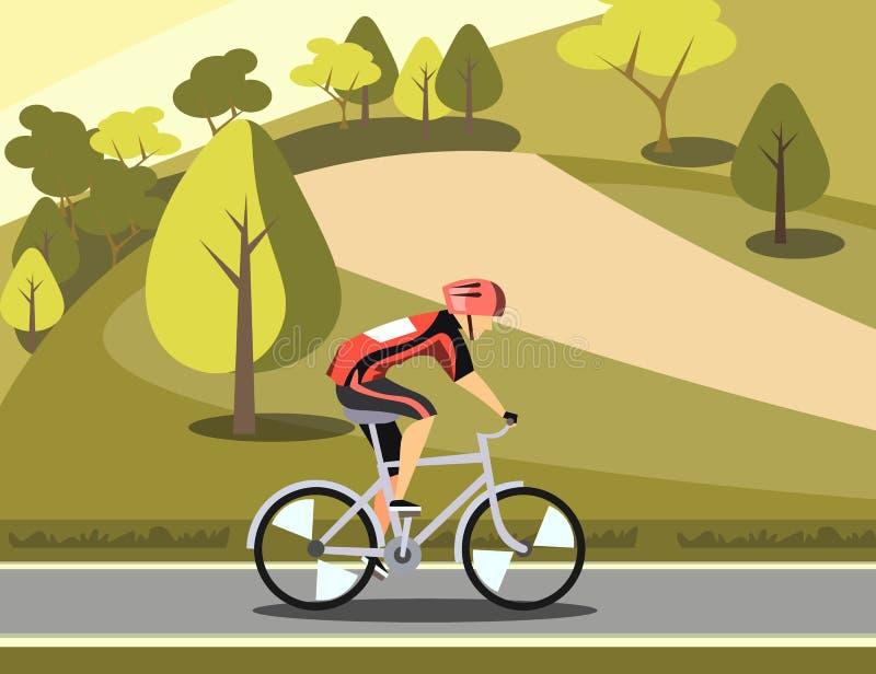 Ciclista del atleta del deporte en parque stock de ilustración