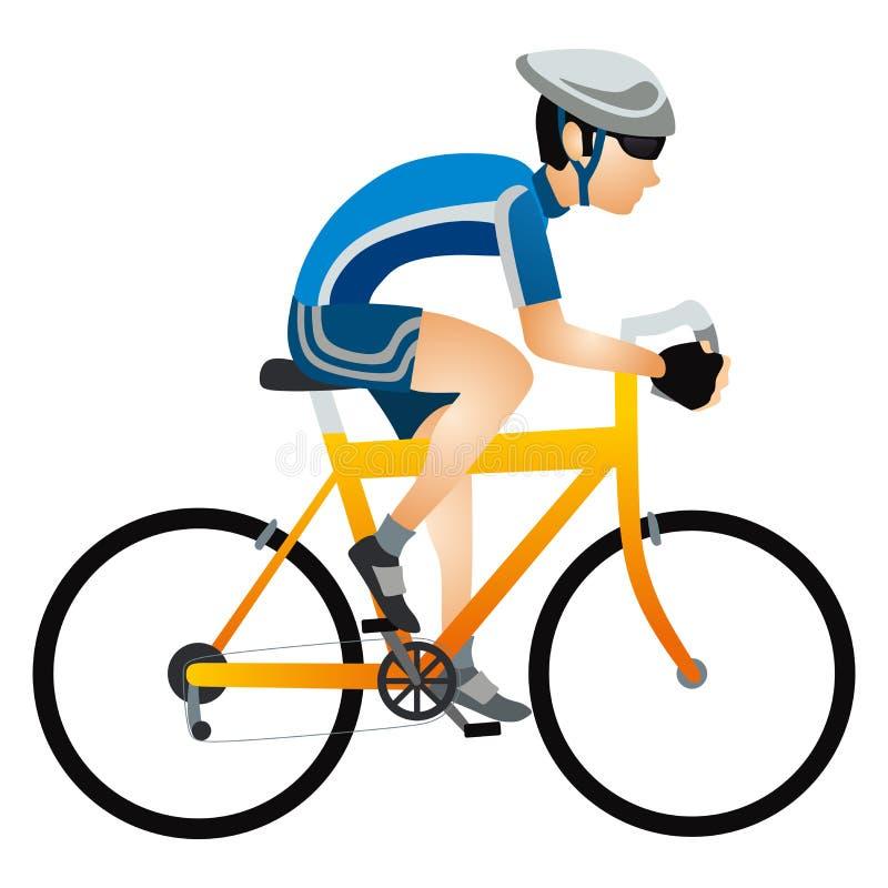 Ciclista del deportista de la historieta en bicicleta del montar a caballo del casco en ropa de deportes stock de ilustración