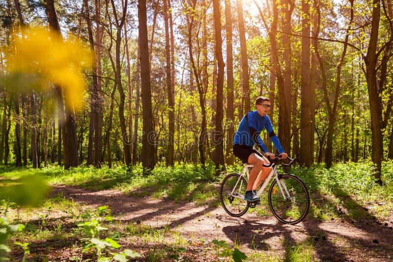 Ciclista do homem novo que monta uma bicicleta da estrada na floresta da mola imagem de stock