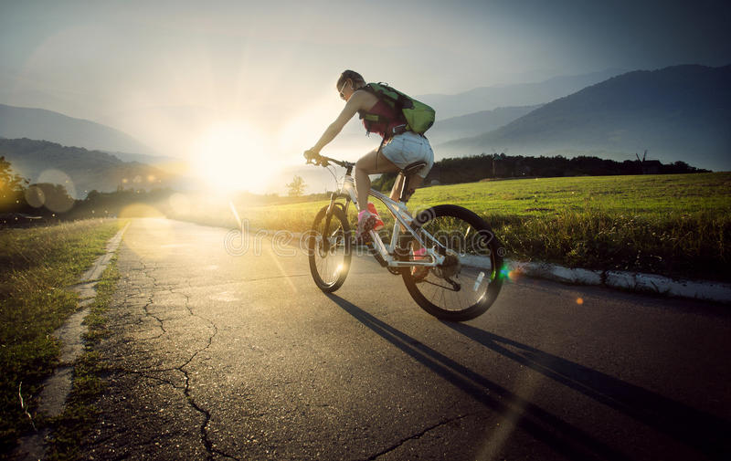 Ciclista do Mountain bike imagens de stock