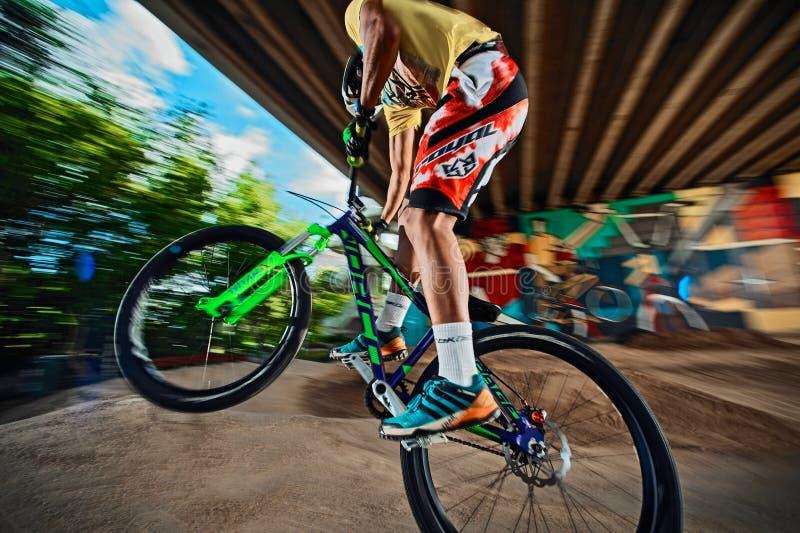 Ciclista do Mountain bike que faz o conluio do wheelie em uma bicicleta da multidão em uma trilha da bomba fotos de stock royalty free