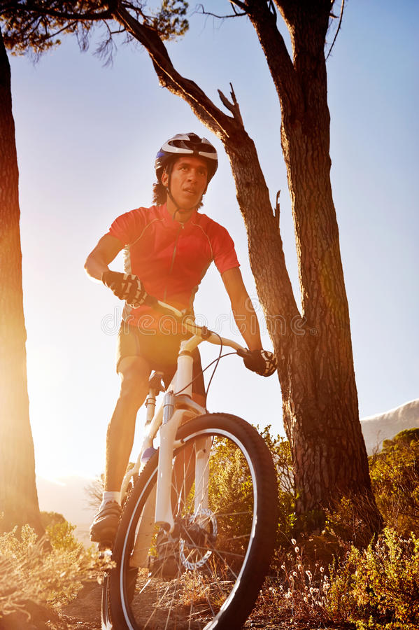 Atleta do Mountain bike imagens de stock royalty free