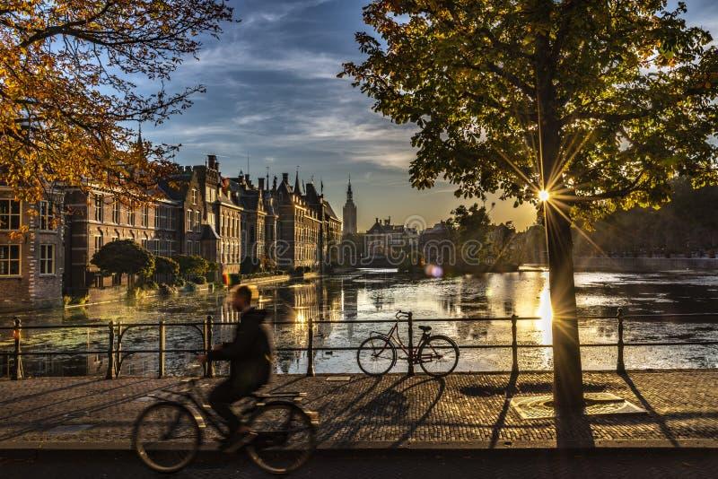 Ciclista - el parlamento y gobierno holandeses fotos de archivo libres de regalías