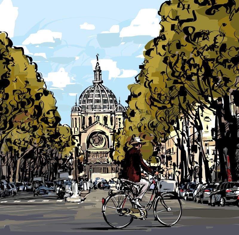 Ciclista em Paris ilustração do vetor