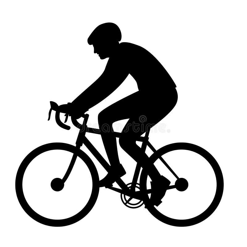 Ciclista em um capacete, ilustração do vetor, silhueta do preto do perfil ilustração do vetor
