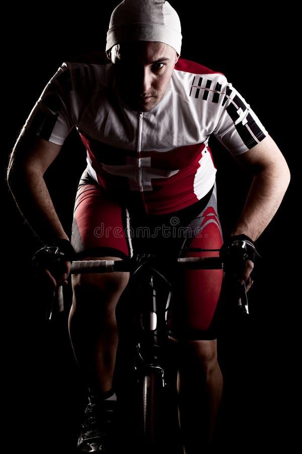 Ciclista em uma bicicleta foto de stock