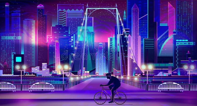 Ciclista en cerca vector de la historieta del terraplén de la ciudad ilustración del vector