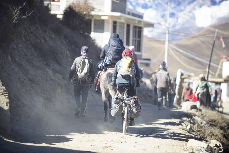 Ciclista en el Himalaya, Nepal Pueblo de Manang foto de archivo