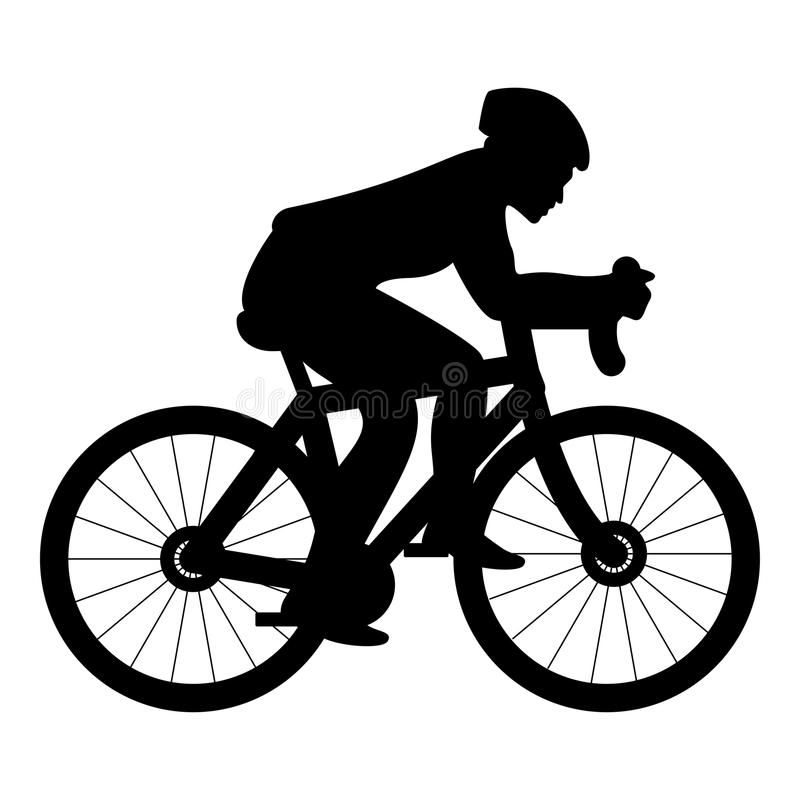 Ciclista en imagen simple del estilo plano del ejemplo de color del negro del icono de la silueta de la bici ilustración del vector