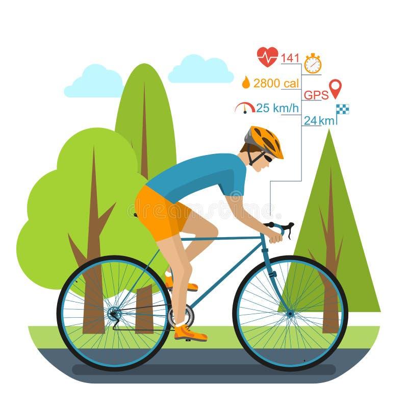 Ciclista en la bici de los deportes stock de ilustración