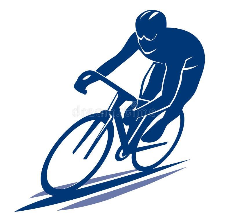 Ciclista en la bici del camino stock de ilustración