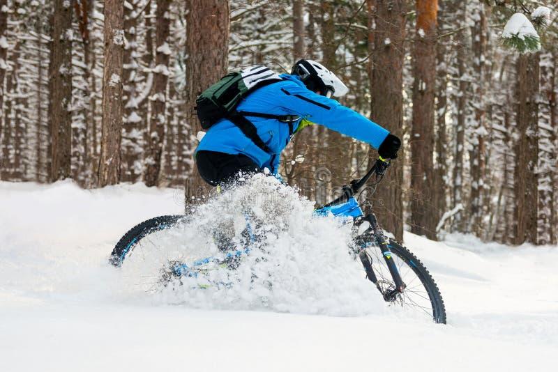 Ciclista en la deriva azul en la bici de montaña en el invierno hermoso Forest Extreme Sport y el concepto Biking de Enduro imágenes de archivo libres de regalías