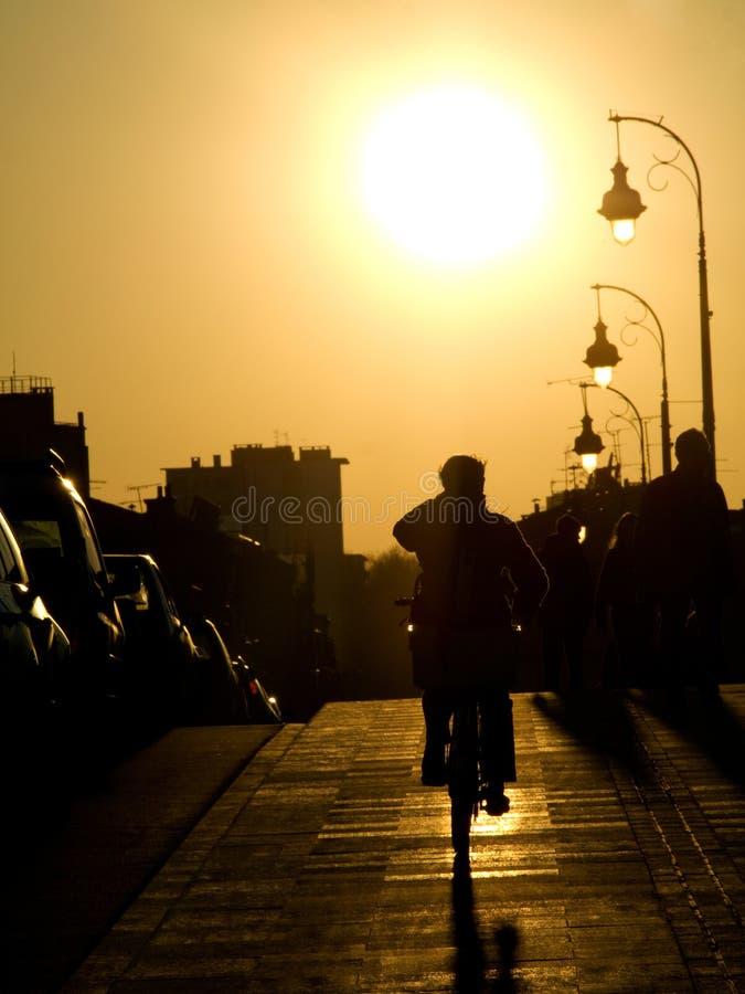 Ciclista en la puesta del sol fotos de archivo