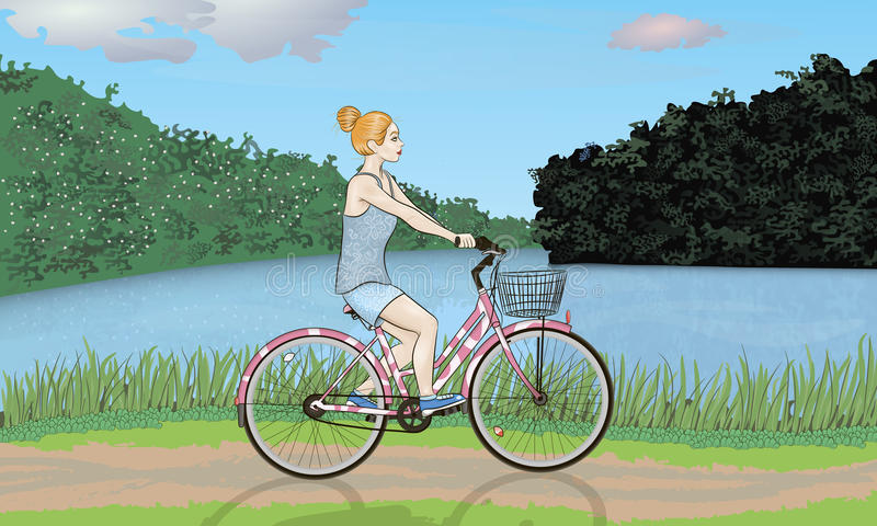 Ciclista en naturaleza foto de archivo