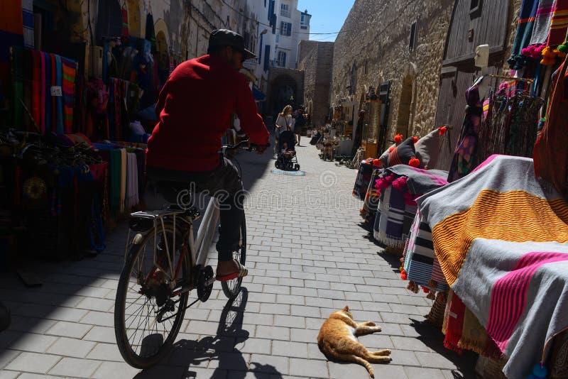 Ciclista en una calle comercial, Essaouira, Marruecos imagen de archivo libre de regalías