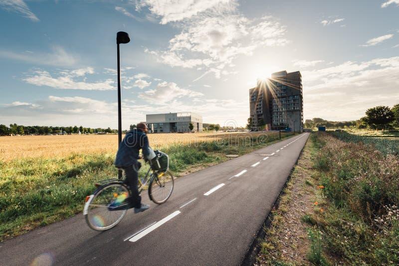 Ciclista en una trayectoria de la bicicleta en Odense, Dinamarca foto de archivo libre de regalías