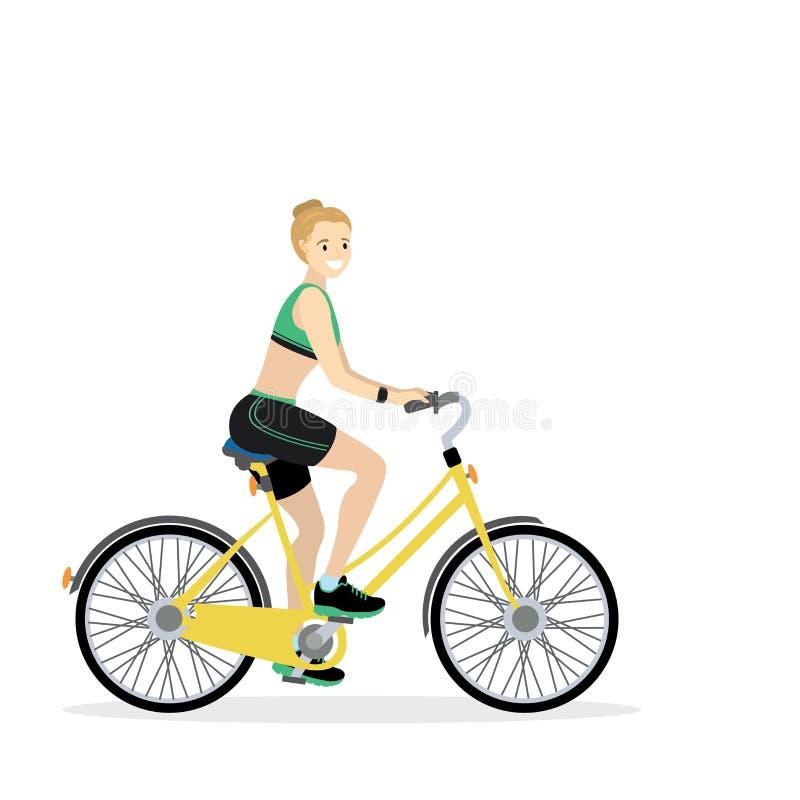 Ciclista femminile caucasico felice royalty illustrazione gratis