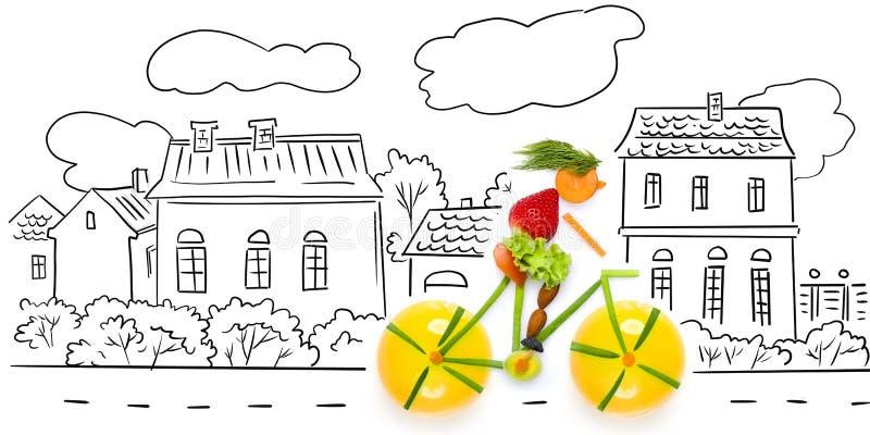 Ciclista frutado. foto de stock