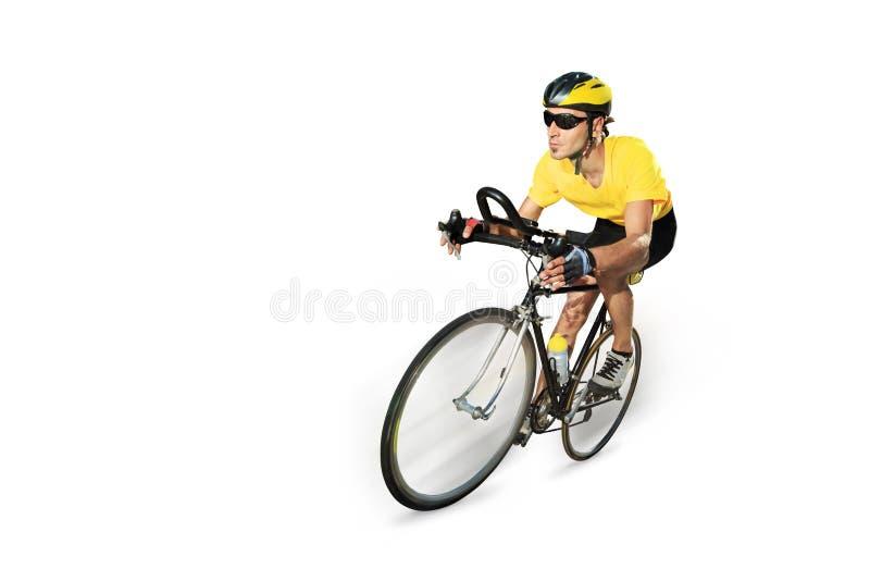 Ciclista masculino que monta una bici imagen de archivo libre de regalías