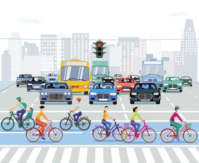Ciclista na estrada com carros ilustração royalty free