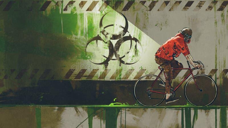 Ciclista nella zona di rischio biologico illustrazione di stock
