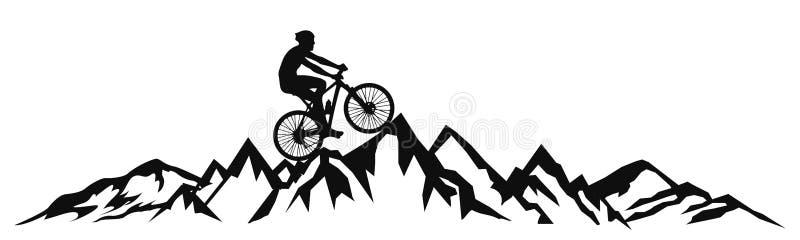 Ciclista nelle montagne - vettore royalty illustrazione gratis