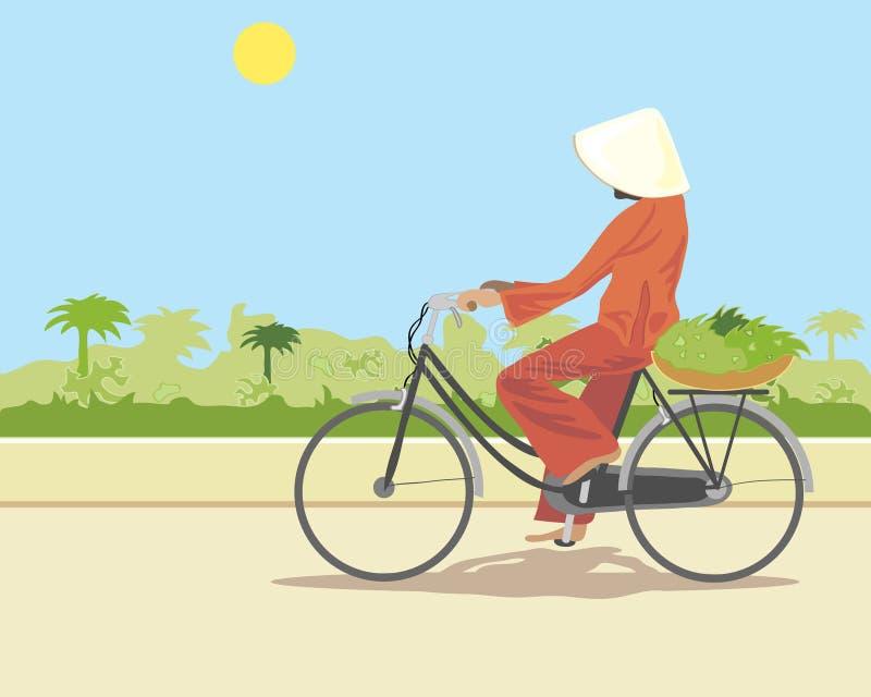 Ciclista oriental ilustração stock