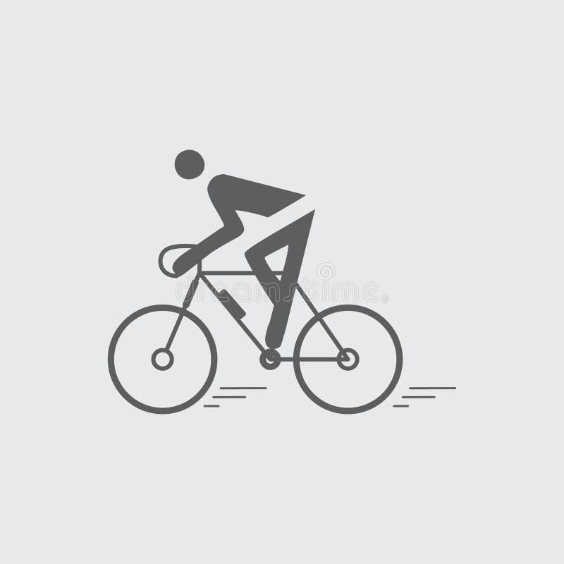 Ciclista plano negro, icono biking del vector ilustración del vector