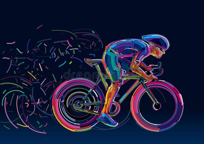 Ciclista profissional envolvido em uma raça da bicicleta ilustração stock