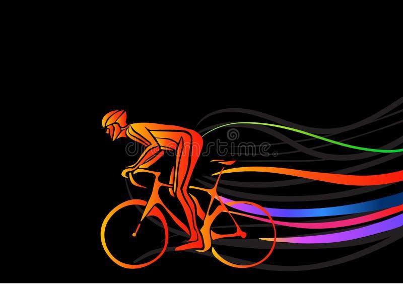 Ciclista profissional envolvido em uma raça da bicicleta Arte finala do vetor ao estilo dos cursos da pintura ilustração do vetor