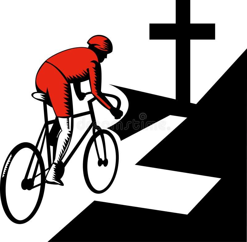 Ciclista que compete a estrada transversal da bicicleta ilustração do vetor