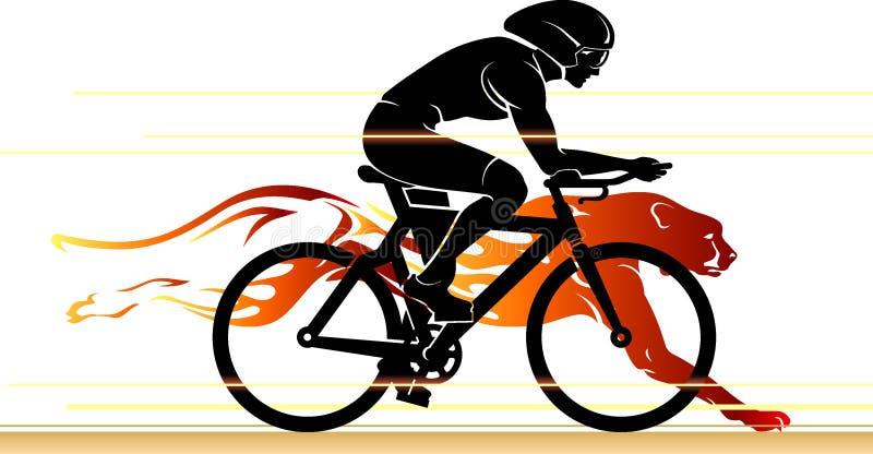 Ciclista que compite con el guepardo stock de ilustración
