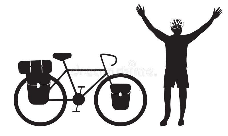 Ciclista que levanta sua mão com visita da bicicleta ilustração stock