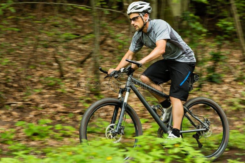 Ciclista su un mountainbike fotografia stock