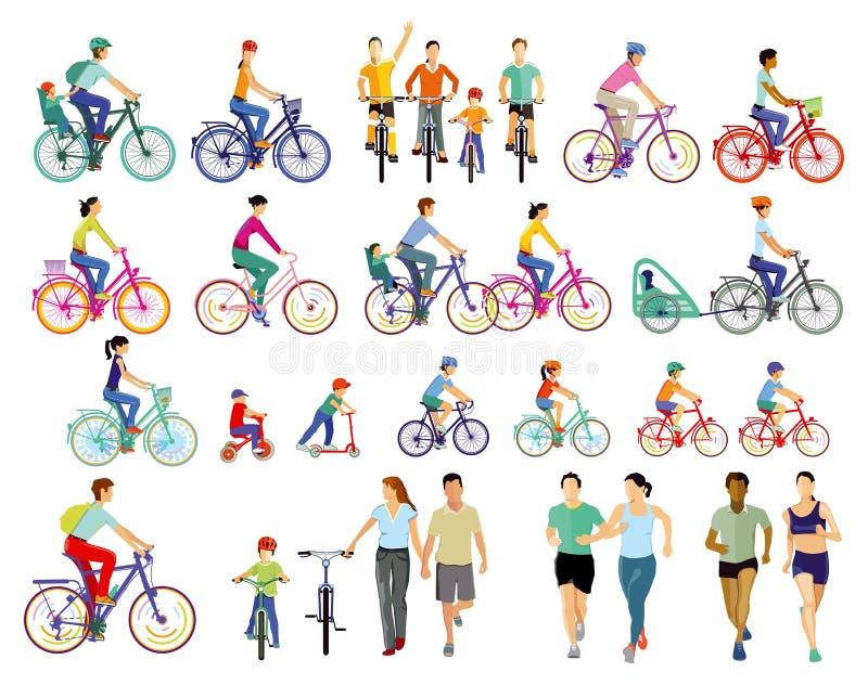 Ciclistas e atletas ilustração stock