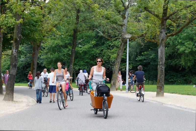 Ciclistas en Amsterdam imagen de archivo libre de regalías